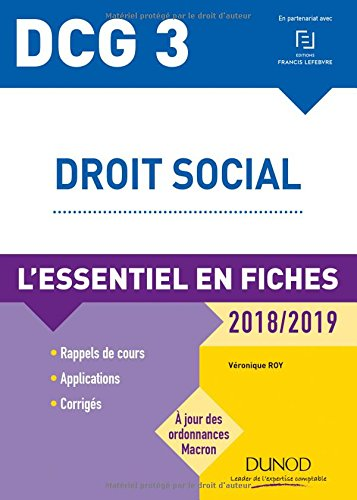 DCG 3 - Droit social - 2018/2019 - L'essentiel en fiches: L'essentiel en fiches (2018-2019)