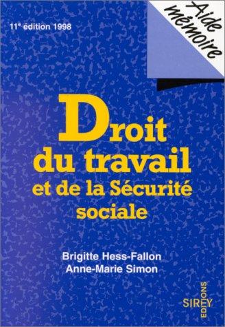 Droit du travail det de la Sécurité sociale