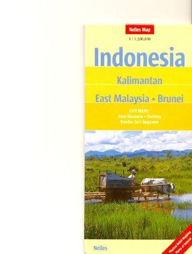 Indonésie - Bornéo, Kalimantan, est de la Malaisie, Brunei 1:1,5 M Nelles Trave carte